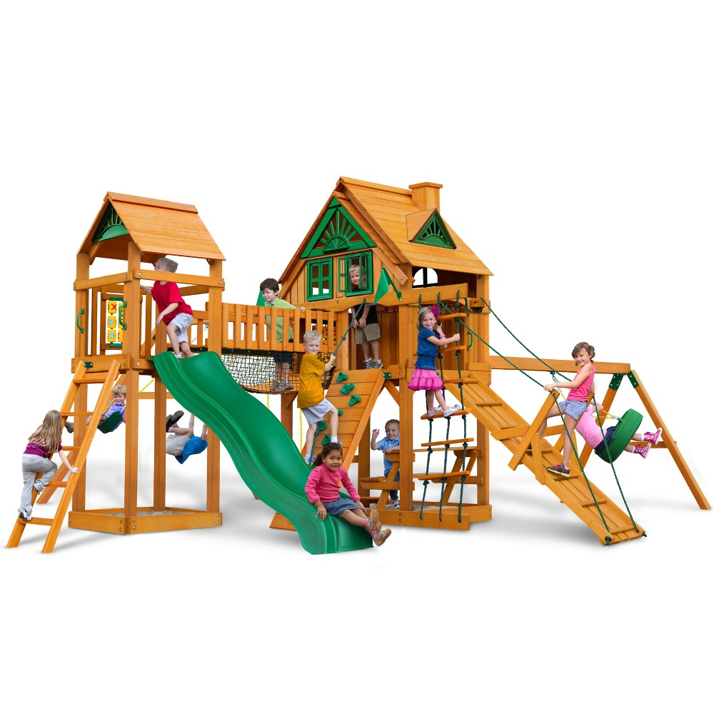 Gorilla Playsets Pioneer Peak Treehouse Swing Set with Fort Add-On & Amber, Multi-Colored