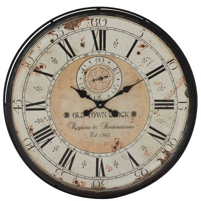 """32"""" Round Rustic Iron and Wood Antique Roman Numeral Wall Clock Black - Olivia & May"""