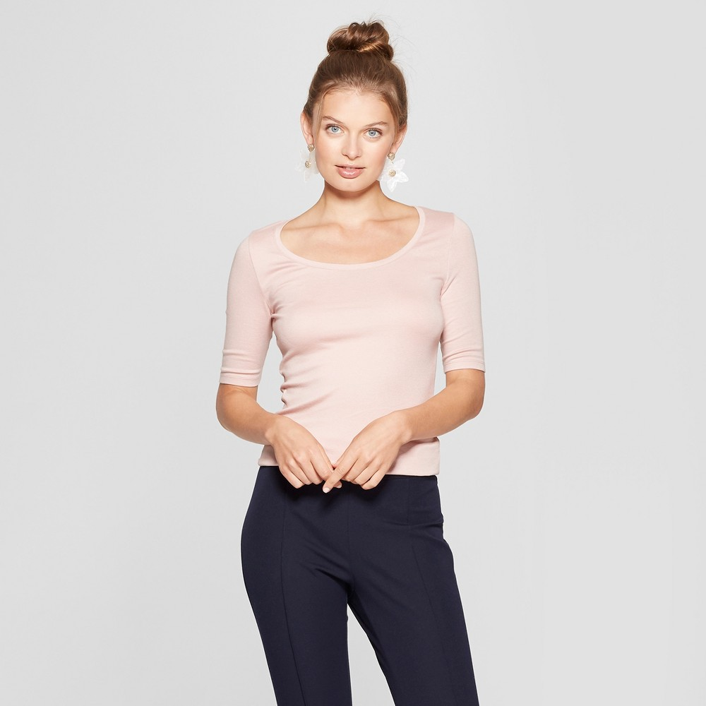 Women's Elbow Length Fitted T - Shirt - A New Day Smoked Pink XL