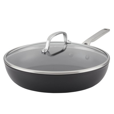 """KitchenAid Hard-Anodized Induction 12.25"""" Nonstick Frying Pan with Lid"""