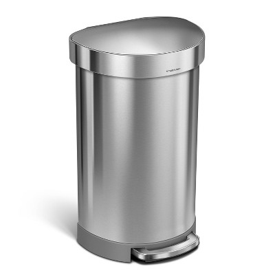 simplehuman 45L Semi-Round Step Trash Can Silver