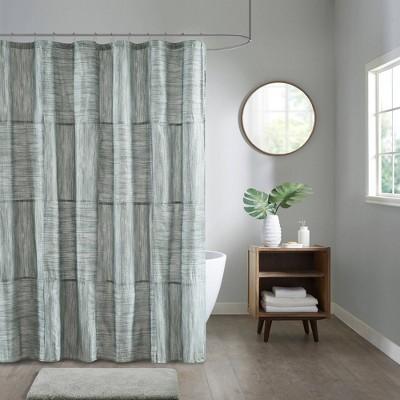 """72""""x72"""" Kelan Printed Seersucker Shower Curtain Gray"""