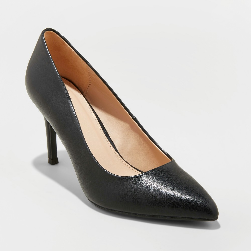 Women's Gemma Wide Width Faux Leather Pointed Toe Heeled Pumps - A New Day Black 11W, Size: 11 Wide