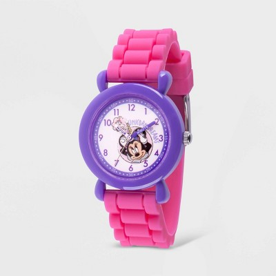 Girls' Disney Minnie Mouse Plastic Time Teacher Silicon Strap Watch - Pink