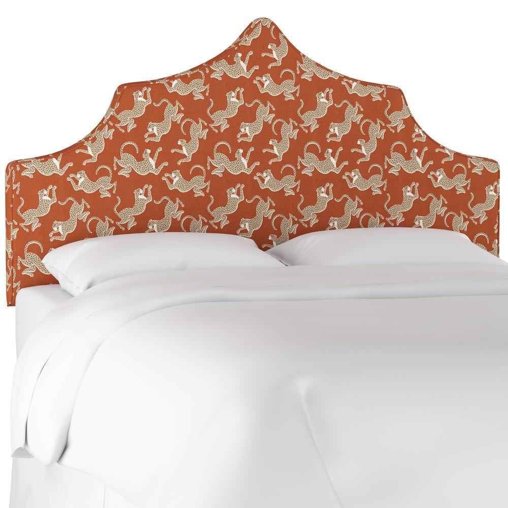 Ivy Notched Headboard King Leopard Run Burnt Orange - Cloth & Co.