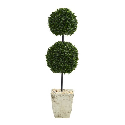 Nearly Natural 4' Indoor/Outdoor Boxwood Double Ball Artificial Topiary Tree in Country Planter White