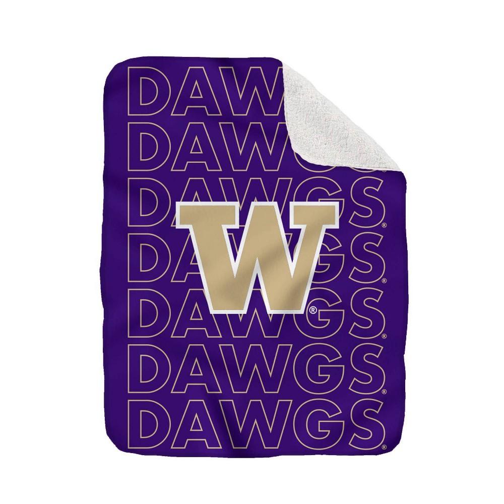 Ncaa Washington Huskies Collegiate Echo Wordmark Plush Throw Blanket