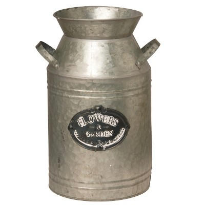 Garden Accents Artificial Antique Milk Can Silver 15  - National Tree Company®