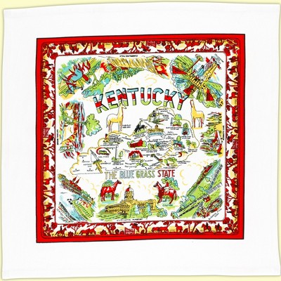"""Tabletop 22.0"""" Kentucky Flour Sack Towel Kitchen Travel State Map Red And White Kitchen Company  -  Kitchen Towel"""