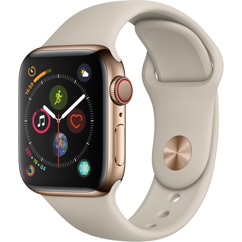 Apple Watch Series 4 Gps & Cellular 40mm Gold Stainless Steel Case with Sport Band - Stone, Gold Sport Band Fundamentally redesigned and reengineered. The largest Apple Watch display yet. Built-in electrical heart sensor. New Digital Crown with haptic feedback. Low and high heart rate notifications. Fall detection and Emergency Sos. New Breathe watch faces. Automatic workout detection. New yoga and hiking workouts. Advanced features for runners like cadence and pace alerts. New head-to-head competitions. Activity sharing with friends. Personalized coaching. Monthly challenges and achievement awards. Built-in cellular lets you use Walkie-Talkie, make phone calls, and send messages. Stream Apple Music and Apple Podcasts. And use Siri in all-new ways—even while you're away from your phone. With Apple Watch Series 4, you can do it all with just your watch. Selection may vary; see a sales associate for available models. Apple Watch Series 4 (Gps + Cellular) requires an iPhone 6 or later with iOS 12 or later. Wireless service plan required for cellular service. Apple Watch and iPhone service provider must be the same. Not all service providers support enterprise accounts; check with your employer and service provider. Roaming is not available outside your carrier network coverage area. Contact your service provider for more details. Apple Music requires a subscription. Compared with the previous generation. Iso standard 22810:2010. Appropriate for shallow-water activities like swimming. Submersion below shallow depth and high-velocity water activities not recommended. Color: Gold Sport Band.
