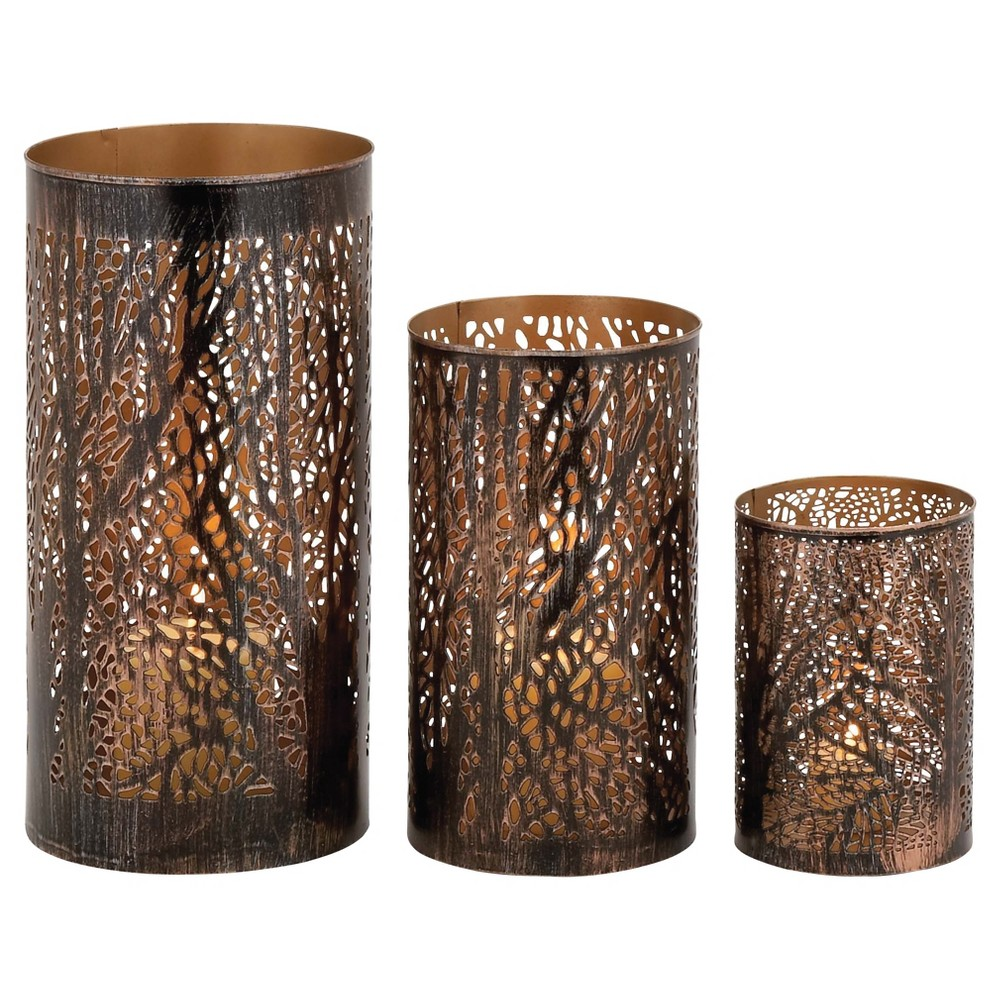 Hurricane Candle Holder Set 3ct - Olivia & May, Brown