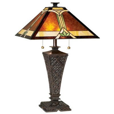 Robert Louis Tiffany Mission Table Lamp Bronze Wicker Pattern Stained Art Glass Shade for Living Room Family Bedroom Bedside