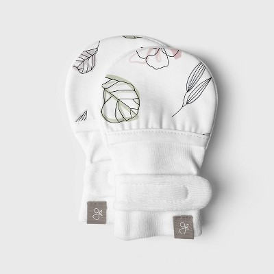 Goumi Baby Girls' Organic Cotton Abstract Floral Mittens - 0-3M