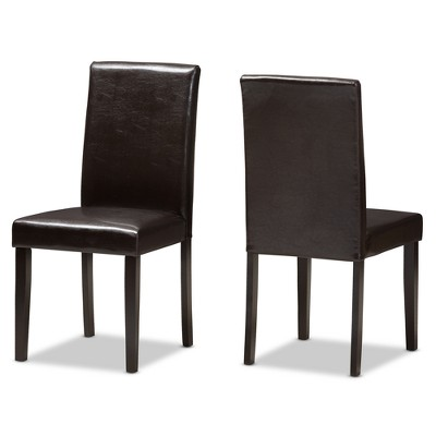 Set of 2 Mia Modern And Contemporary Faux Leather Upholstered Dining Chairs Dark Brown - Baxton Studio