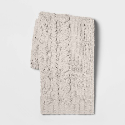 "50""x60"" Cable Knit Chenille Throw Blanket Neutral - Threshold™"