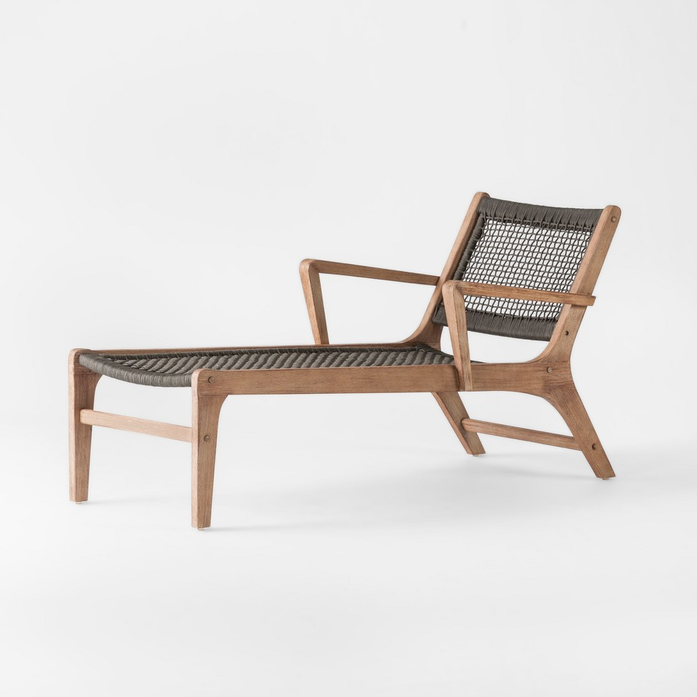 Oceans Wood & Rope Patio Chaise Lounge - Gray - Project 62