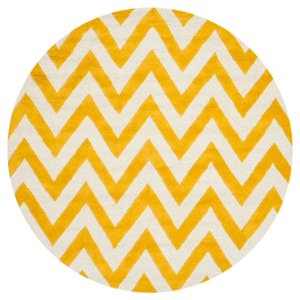 Dalton Textured Rug - Gold / Ivory (6' X 6' Round) - Safavieh, Gold/Ivory