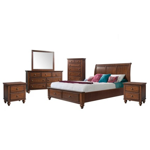 Channing Storage 6pc Bedroom Set Cherry - Picket House Furnishings