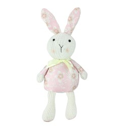 "Northlight 13"" Floral Easter Bunny Rabbit Spring Decoration - Pink/White"
