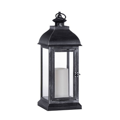 """15.7"""" Indoor/Outdoor Battery Operated Candle Lantern Black - Sterno Home"""