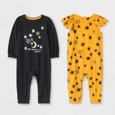 Baby Girls' 2pk Rompers - Cat & Jack™ Black/Yellow 6-9M