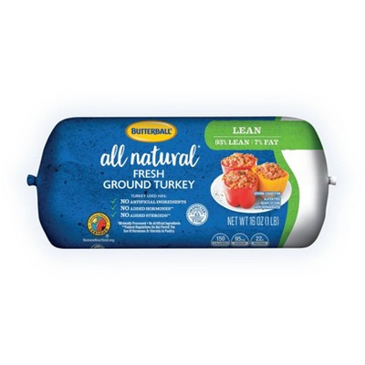 Butterball All Natural Fresh 93/7 Ground Turkey Roll - 1lb