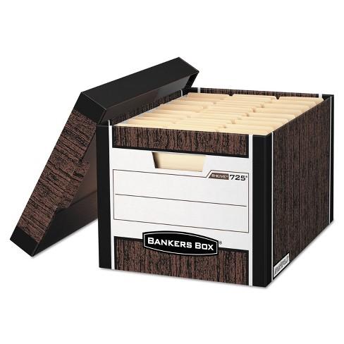 Bankers Box R-KIVE Max Storage Box Letter/Legal Locking Lid Woodgrain 4/Carton 0072506 - image 1 of 1