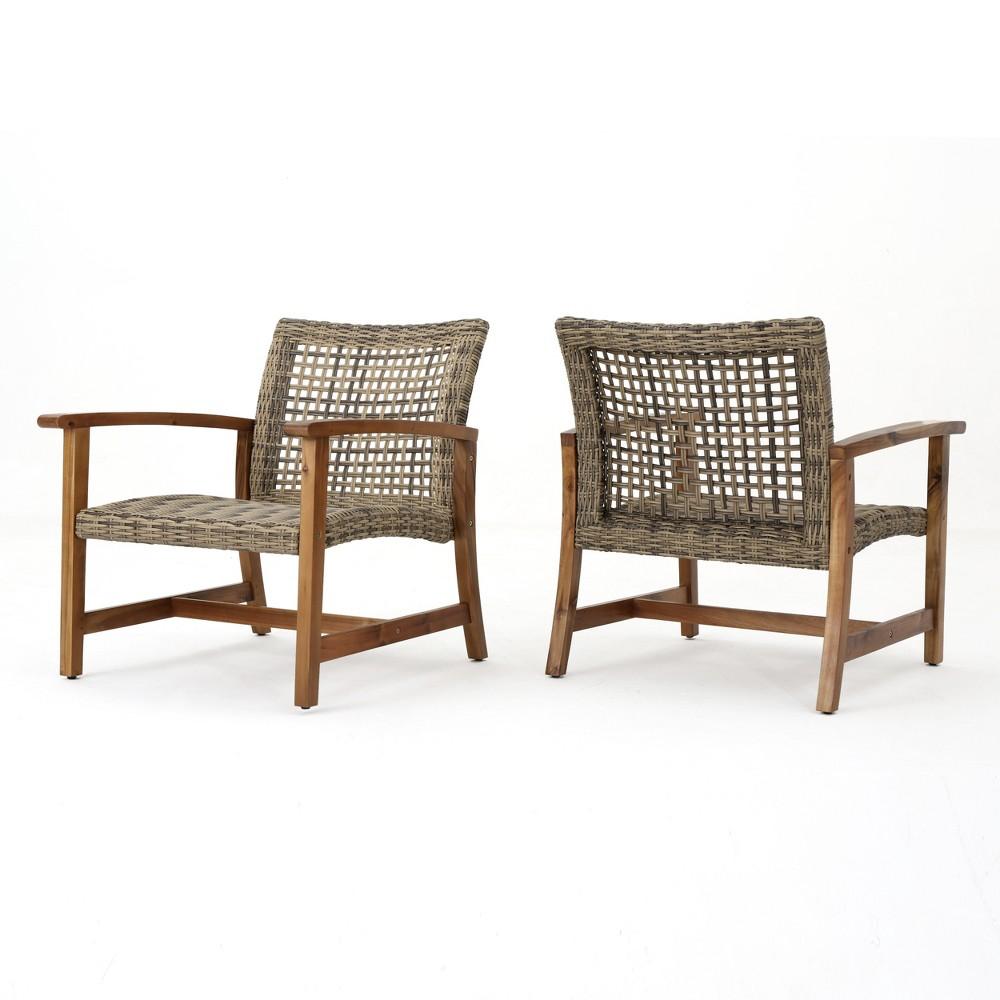 Hampton 2pk Wicker Mid-Century Club Chairs - Gray - Christopher Knight Home