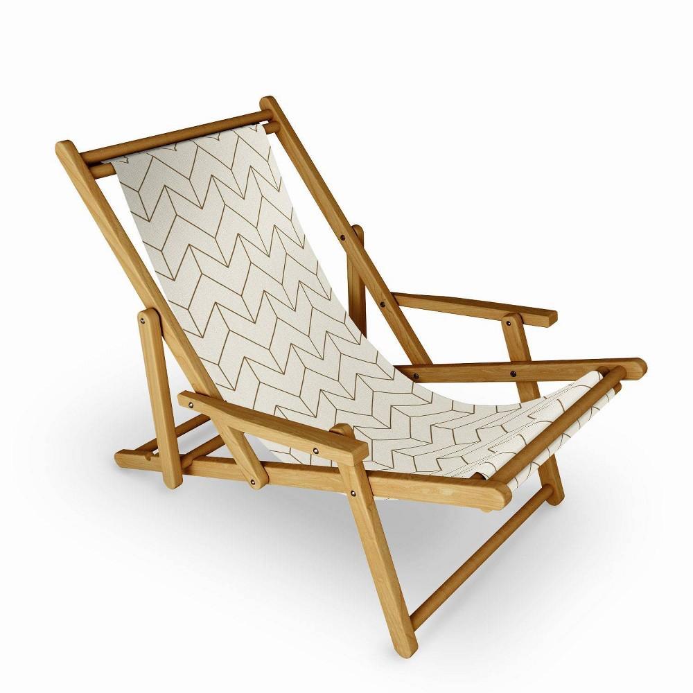 June Journal Simple Linear Geometry Cream Sling Chair Deny Designs