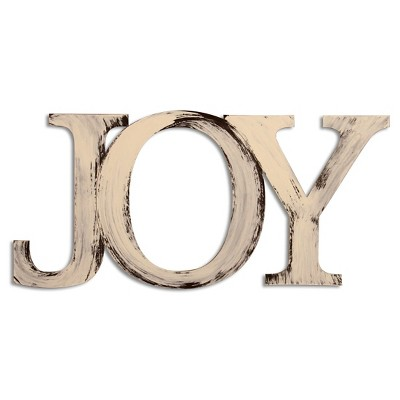 Letter2Word Hand Painted Joy 3D Wall Sculpture - Cream