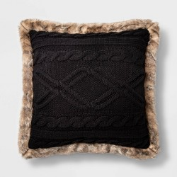 Acrylic Cable Knit Throw Pillow with Faux Mink Reverse and Faux Fur Trim - Threshold™