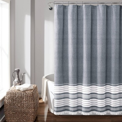 Nantucket Yarn Dyed Cotton Tassel Fringe Shower Curtain Navy/White - Lush Décor