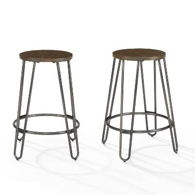 Set of 2 Ava Counter Height Barstools Dark Walnut - Crosley