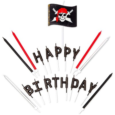 Blue Panda 38-Count Pirate Happy Birthday Cake Candles with Skull Flag Dessert Topper Party Decorations