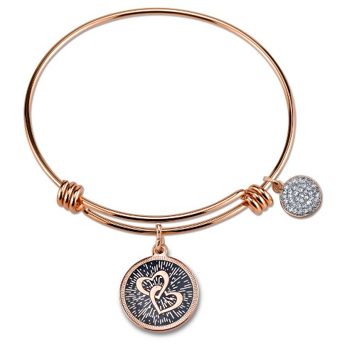"Women's Stainless Steel Mothers and Daughters Double heart Expandable Bracelet - Rose Gold (8"") - image 1 of 1"