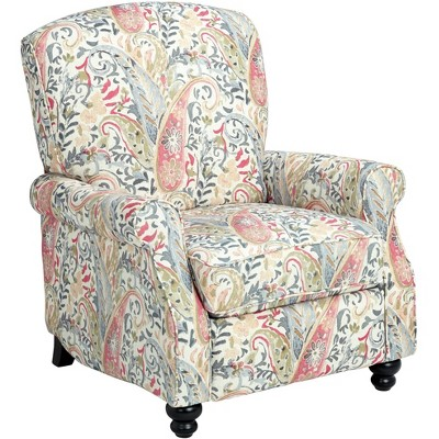 Elm Lane Ethel Coral Paisley Push Back Recliner Chair