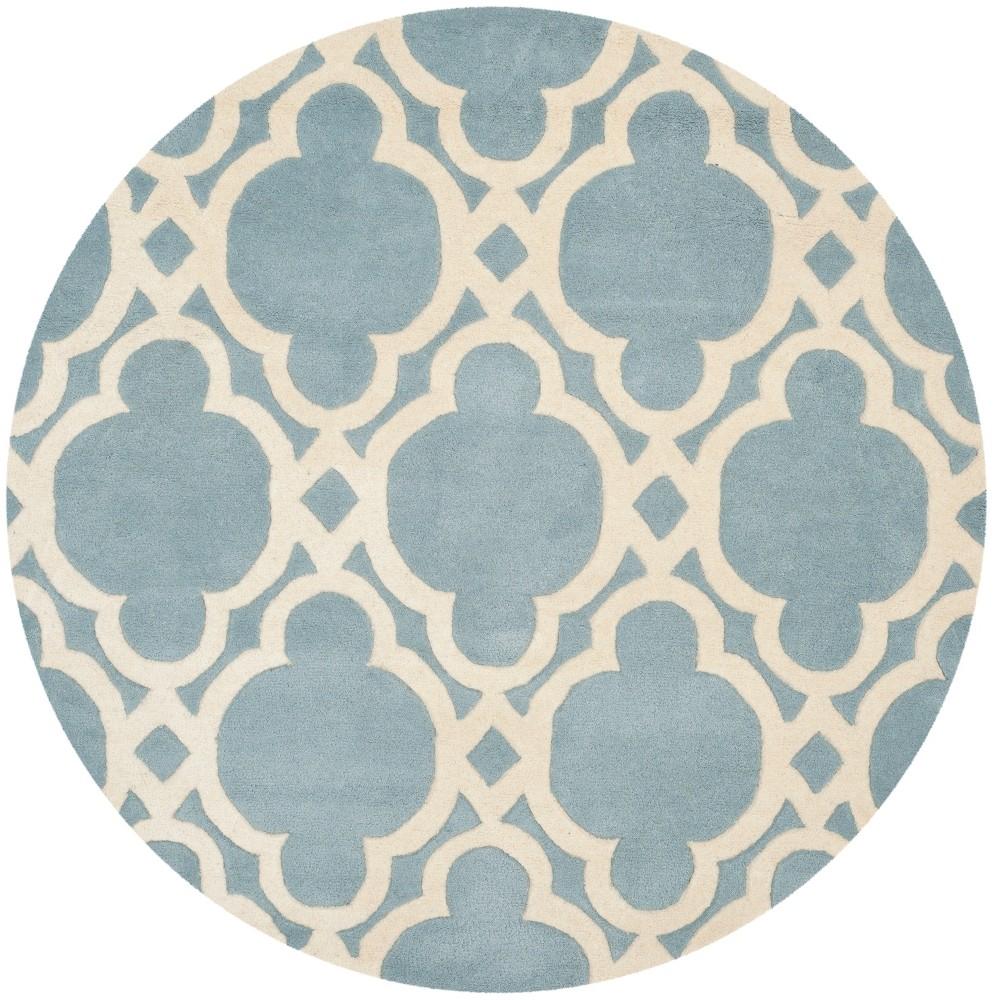 5' Quatrefoil Design Tufted Round Area Rug Blue/Ivory - Safavieh