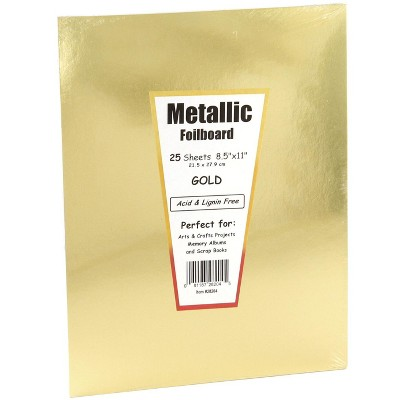 Hygloss Metallic Foilboard, 8-1/2 x 11 Inches, Gold, 25 Sheets