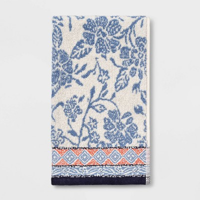 Floral Hand Towel White/Blue - Threshold™