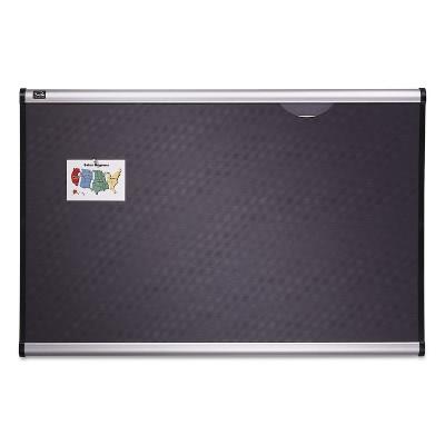 Quartet Prestige Bulletin Board Diamond Mesh Fabric 36 x 24 Gray/Aluminum Frame B443A