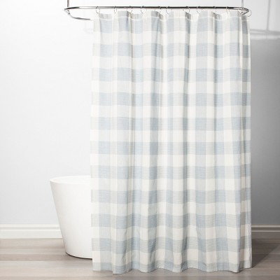 Gingham Checkered Shower Curtain Borage Blue - Threshold™