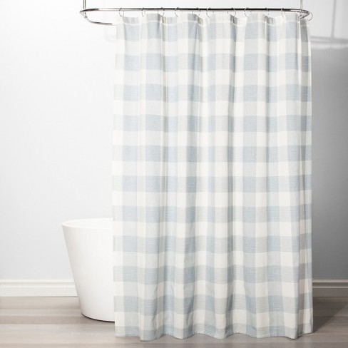 Gingham Checkered Shower Curtain Borage Blue - Threshold™ - image 1 of 2