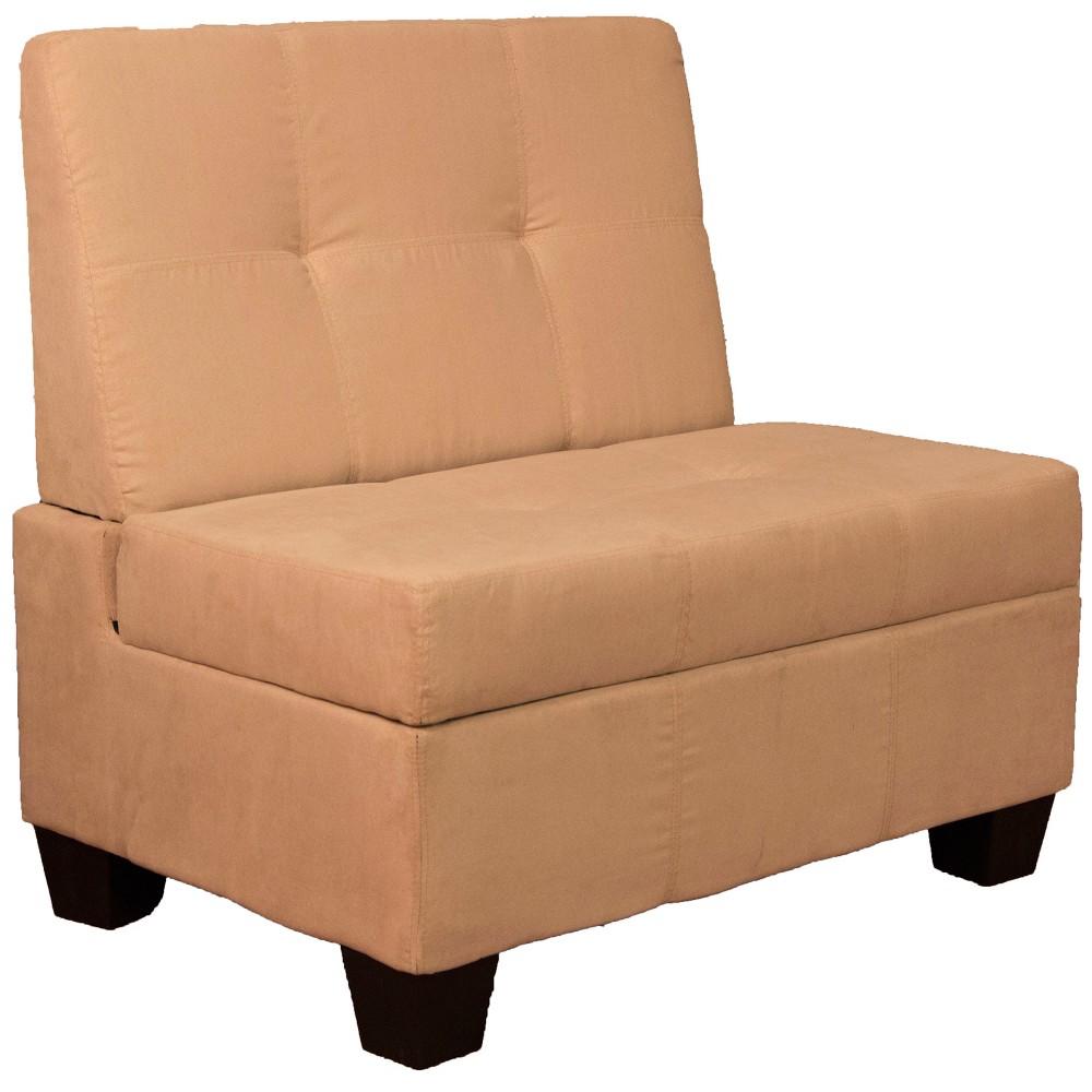Valet Tufted Padded Hinged Storage Chair Suede Black 36 Wide - Sit N Sleep, Green