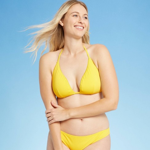 Women's Ribbed Triangle Bikini Top - Shade & Shore™ Sunray Yellow - image 1 of 4
