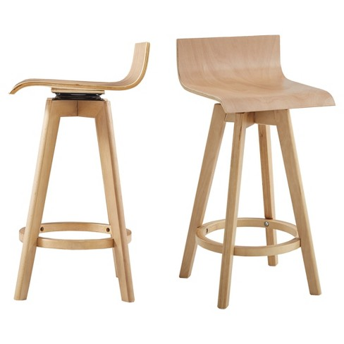 Tisha 24 Mid Century Modern Swivel Wood Counter Stool Set Of 2