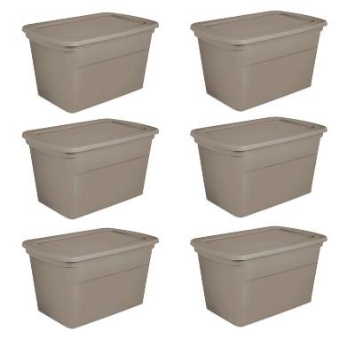 Sterilite 30 Gallon Plastic Stackable Storage Tote Container Box, Taupe (6 Pack)