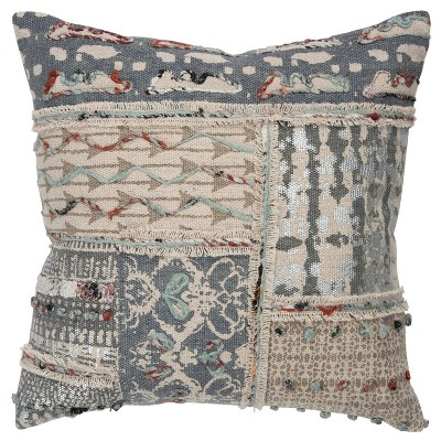 """20""""x20"""" Oversize Abstract Patchwork Square Throw Pillow Cover Gray - Rizzy Home"""