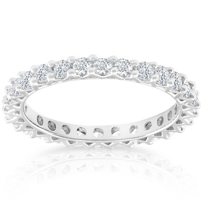 Pompeii3 1 Ct TDW Diamond Eternity Wedding Ring 10k White Gold