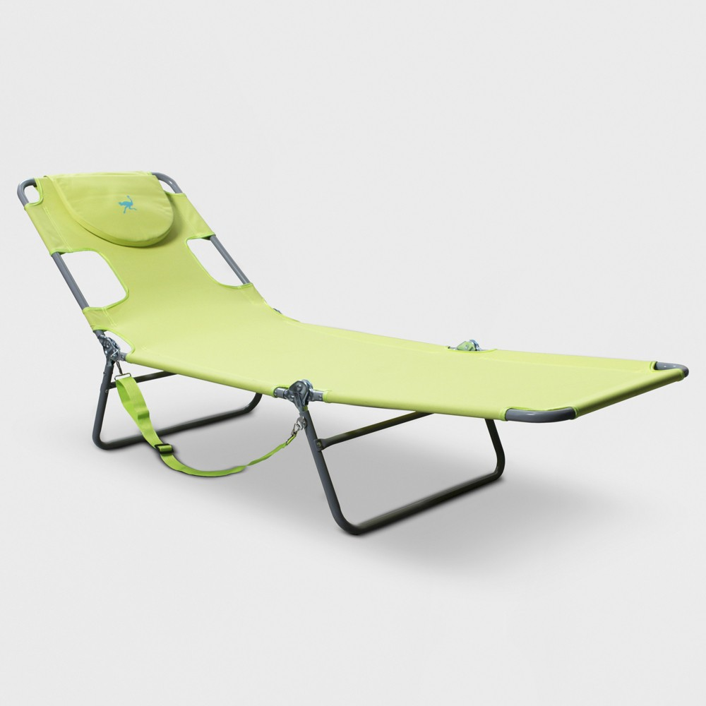 Image of Face Down Beach Chaise Lounger Green - Ostrich