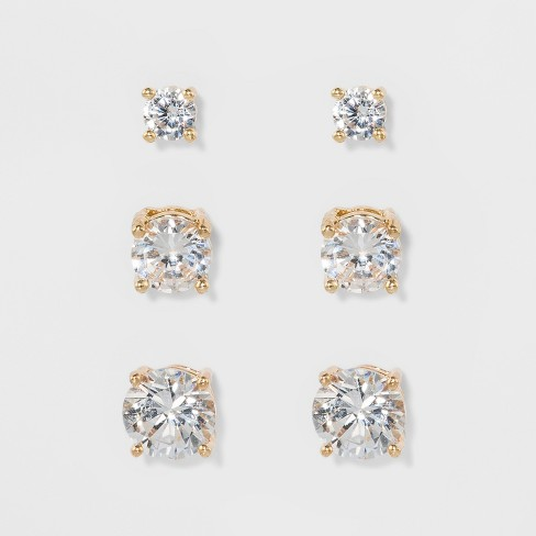 Women's Fashion Trio Crystal Round Stud - A New Day™ Silver/Gold - image 1 of 2